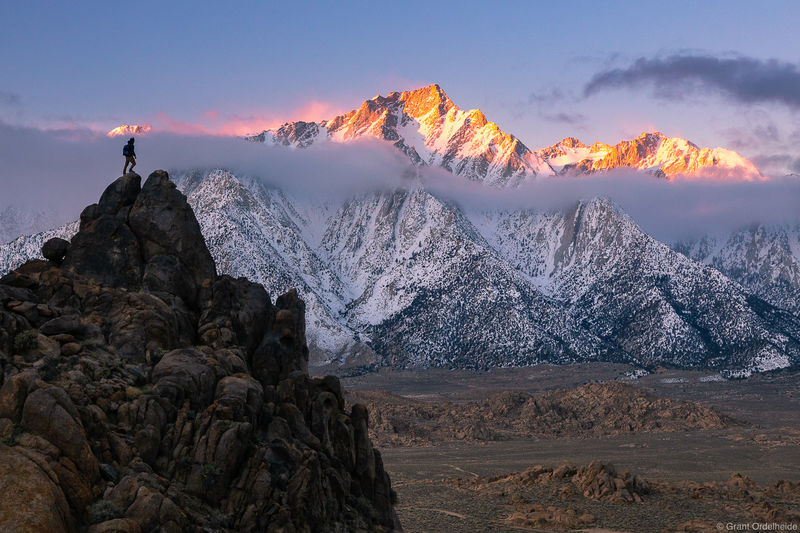 lone pine, peak, sunrise, california, person, rocks, alabama hills,
