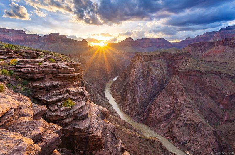plateau, point, sunset, grand, canyon, national, park, arizona, colorado, river