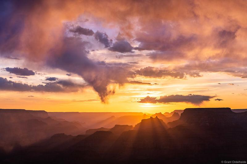 grand, canyon, sunset, national, park, arizona, south, rim, desert, view