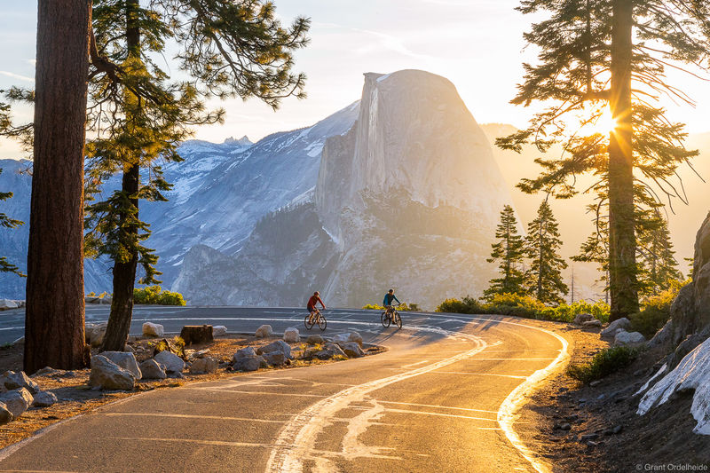 half dome, cycling, yosemite, national park, California, pair, cyclists, glacier point, road,