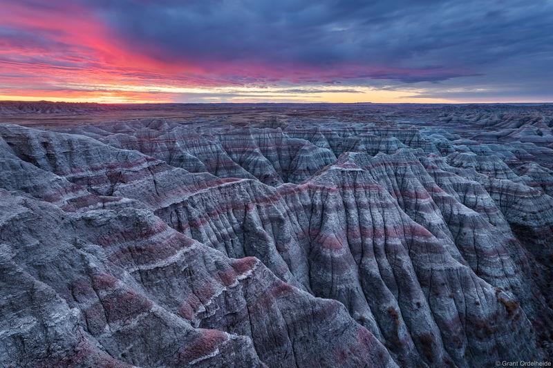 badlands, sunrise, national, park, south, dakota, arid, landscape