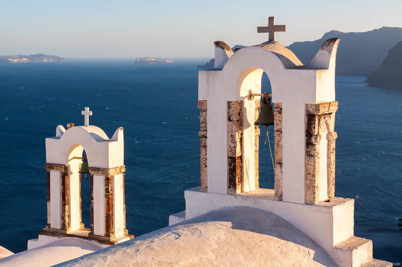 church, bells, oia, santorini, greece, mediterranean, sea, above, high,
