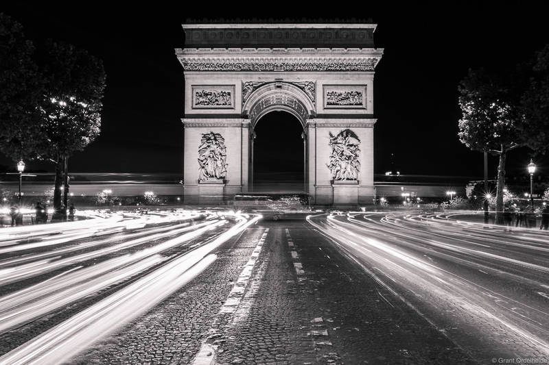 arch de triumph, paris, france, car, lights, famous, arch