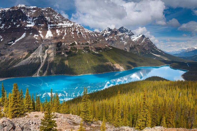 peyto, lake, banff, alpine, glacier-fed, icefields, national, park,