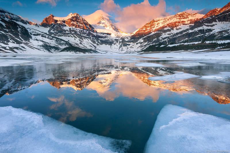 Assiniboine, Icy, Sunrise, British Columbia, Magog, lake, morning, Canada