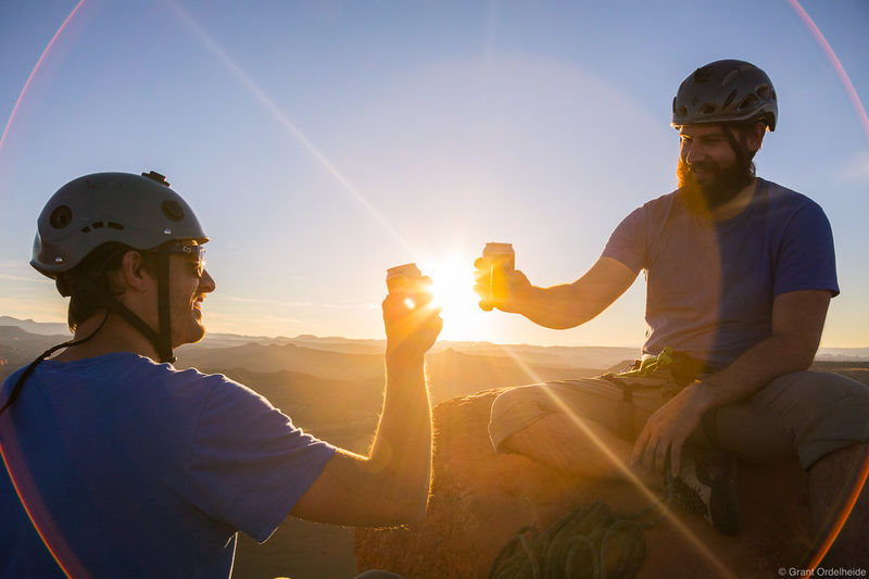 summit, cheers, bears, ears, National, monument, utah, two, climbers, celebrate, south, sixshooter, peak, indian, creek