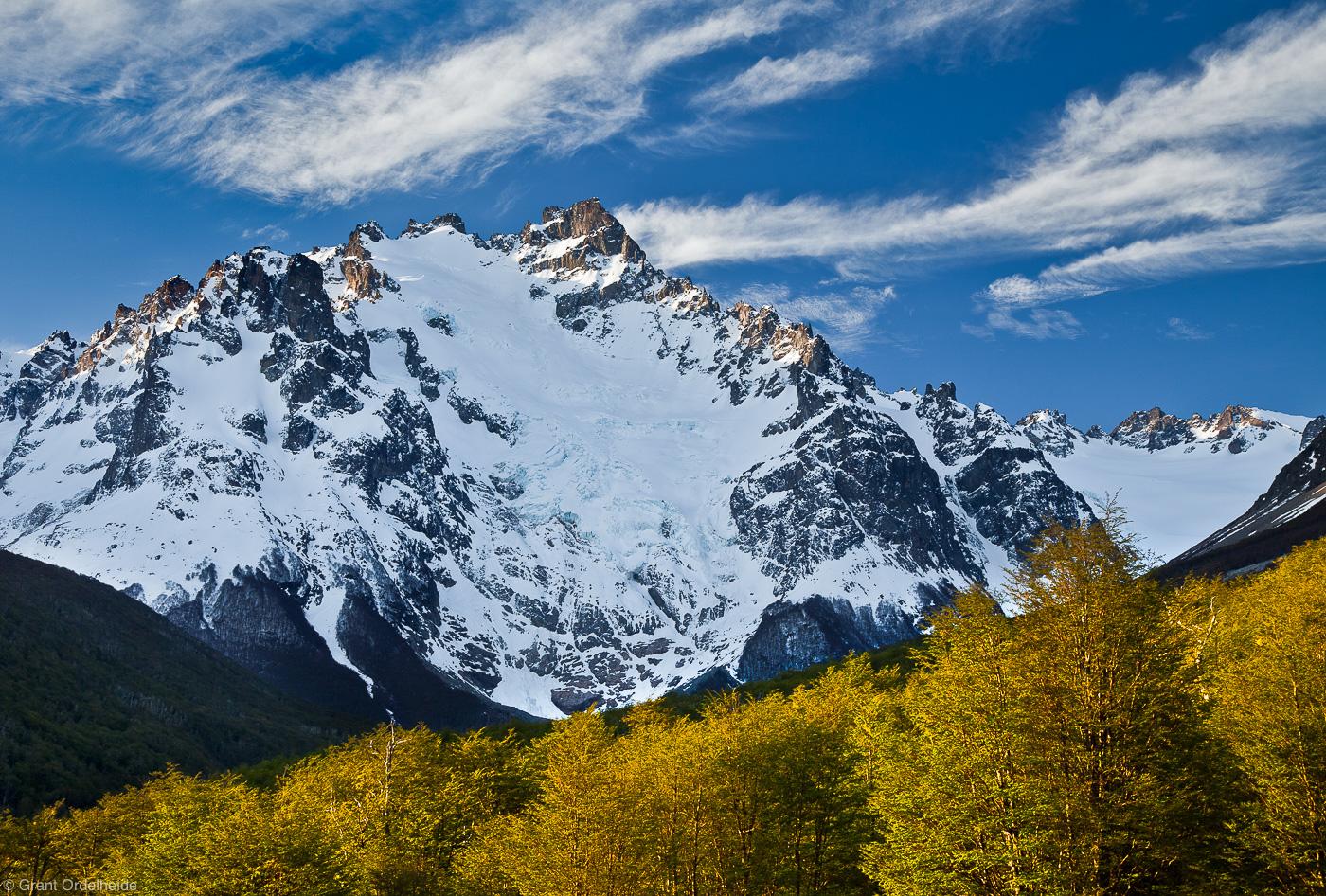 cerro, castillo, Cerro Peñon, national, reserve, coyhaique, peak, lenga, trees, spring, tall, photo