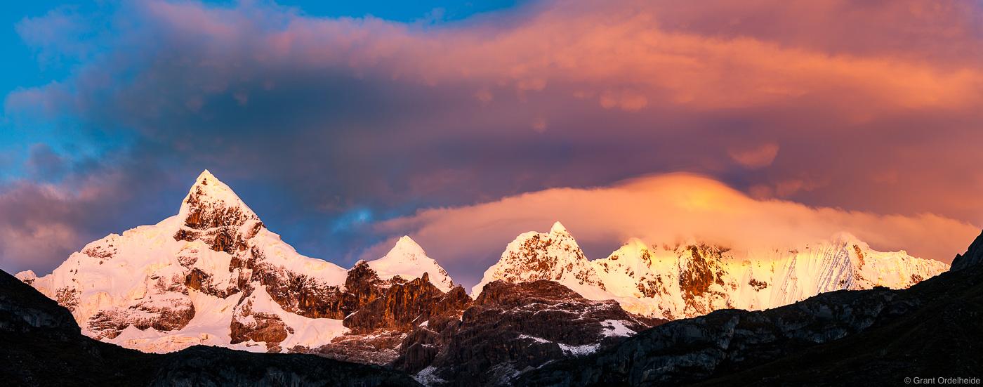 A dramatic sunrise over Peru's Cordillera Huayhuash.