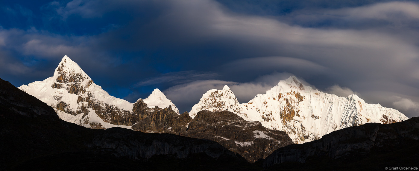 An early morning storm over the rugged Cordillera Huayhuash in Peru.