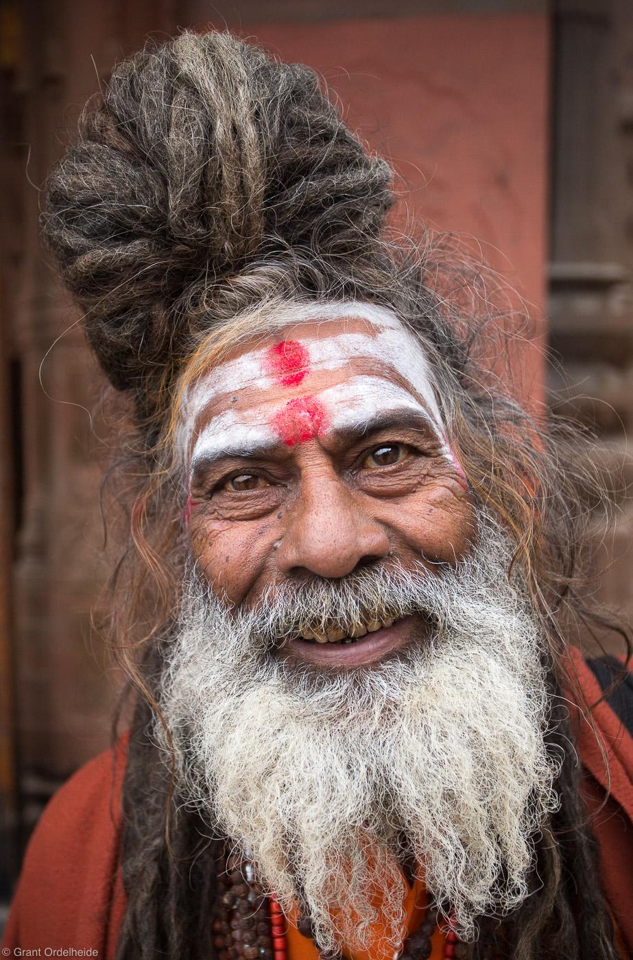 sahdu, portrait, varanasi, india, holy, man, banks, ganges, river, photo