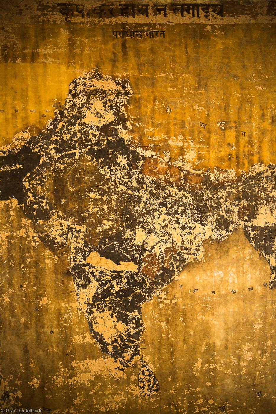 india, old, peeling, painting, temple, holy, city, varanasi, map, Hindu, photo