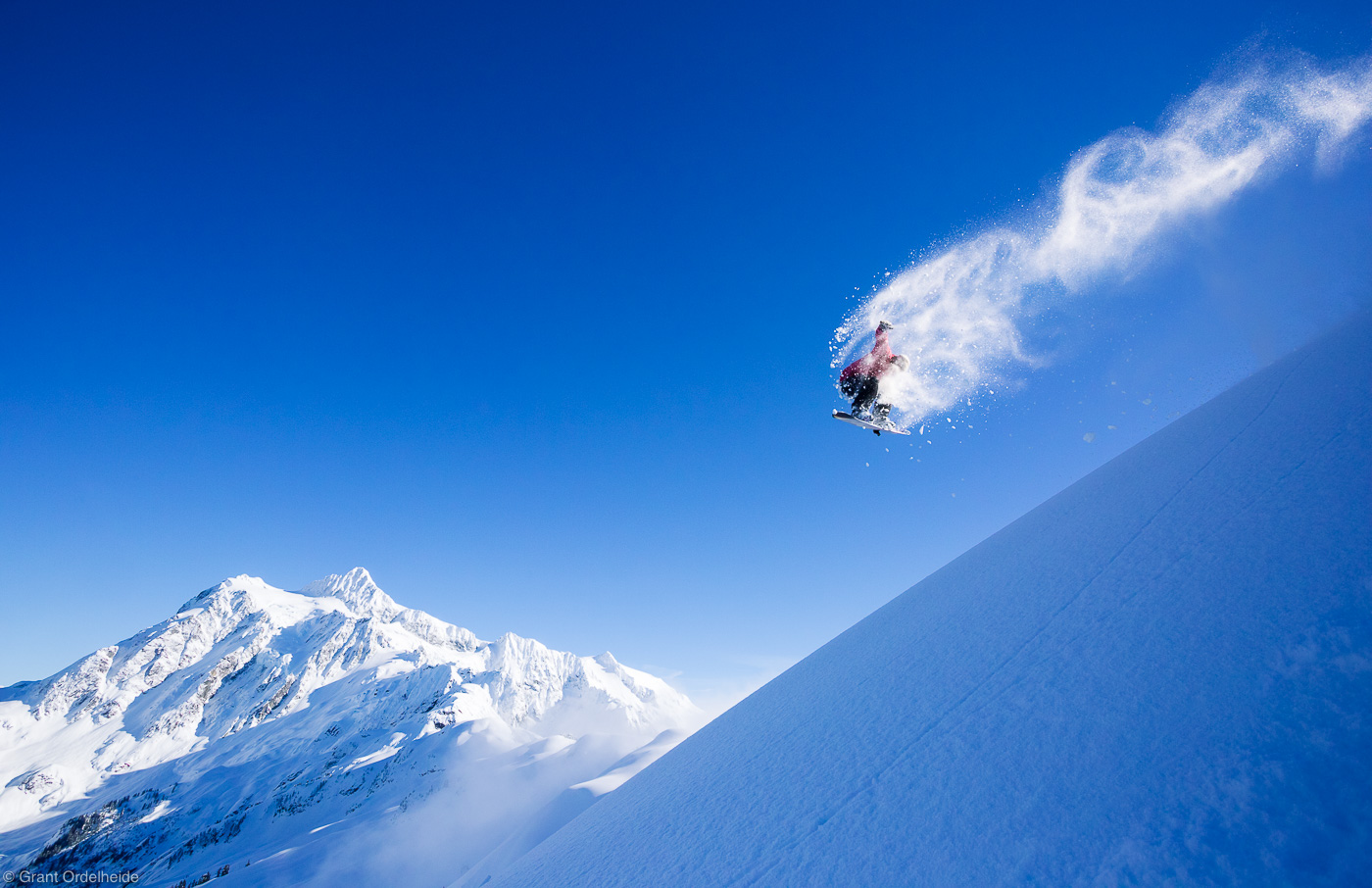 mt. shuksan, backside, one-eighty, snowboarder, baker, washington, usa, grab, method, natural, wind, lip, feature, photo