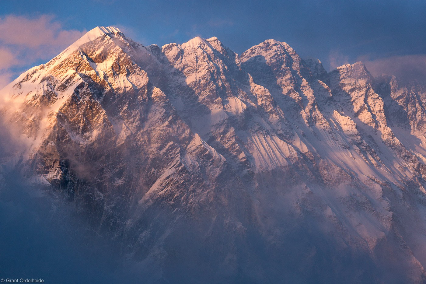 nuptse, sunset, sagarmatha, national, park, himalaya, nepal, everest, region, photo