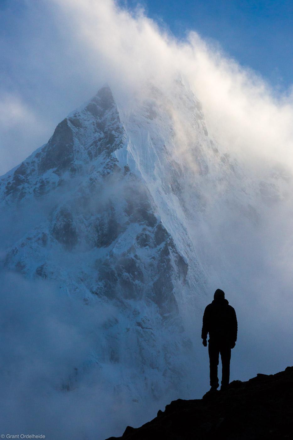 clearing, storm, cholatse, sagarmatha, national park, himalaya, nepal, lone, figure, stands, everest, region, photo