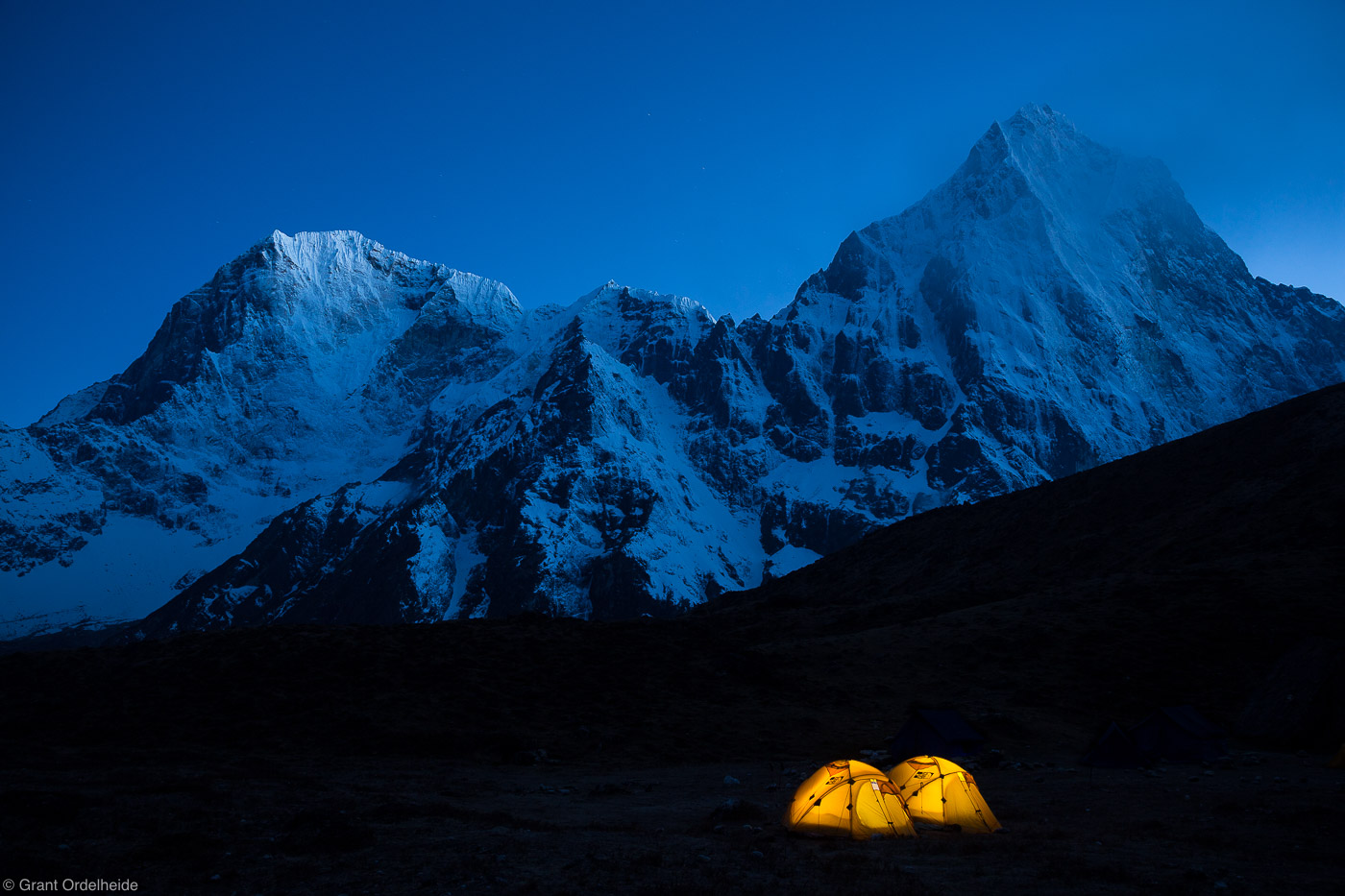 lobuche, east, base camp, sagarmatha, national, park, himalaya, nepal, tents, two, illuminated, taboche, cholatse, tower, photo