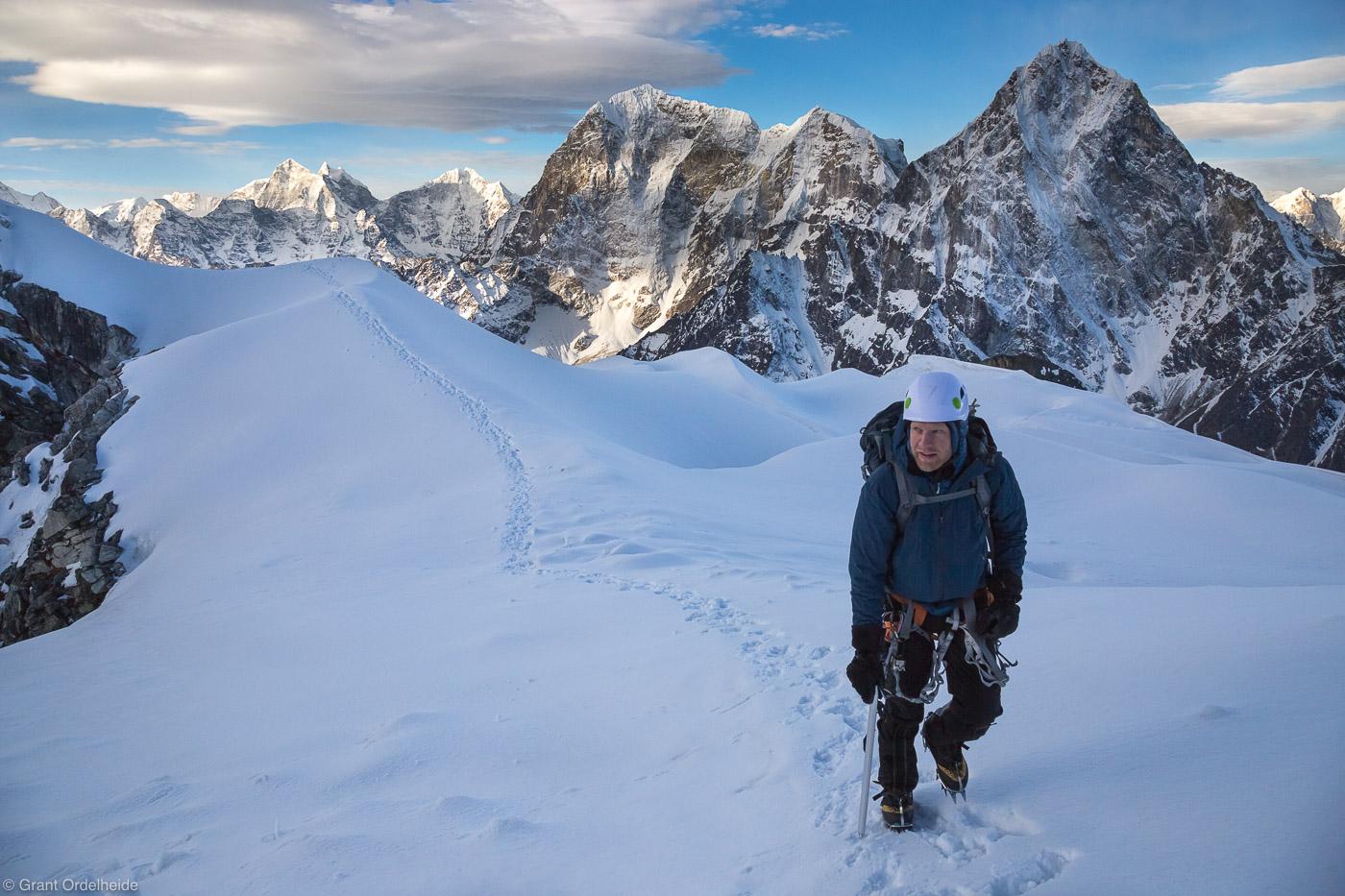 climbing, lobuche, east, sagarmatha, national, park, himalaya, nepal, nate kay, high, taboche, cholatse, background, photo