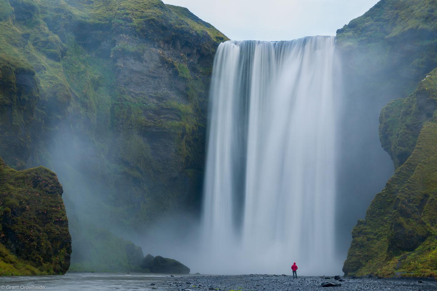 waterfall, person, skogafoss, mighty iceland, biggest, skogar, scale, photo
