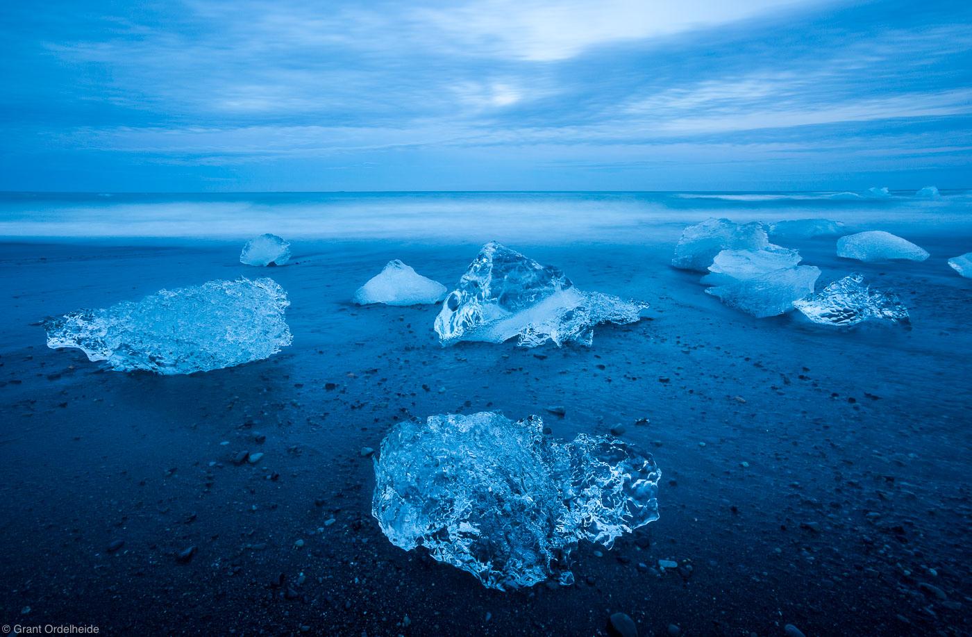 Jökulsárlón, ice, beach, lagoon, south, iceland, icebergs, dusk, washed, up, black, sand, , photo