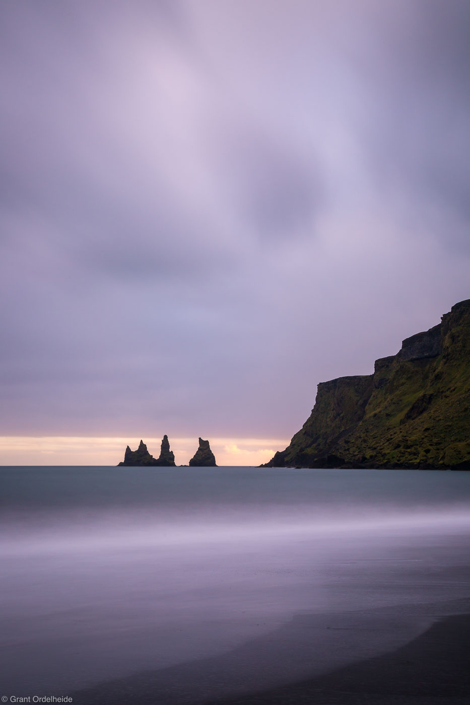 vik, beach, sunset, iceland, sunset, stormy, small, town, southern, coast, , photo