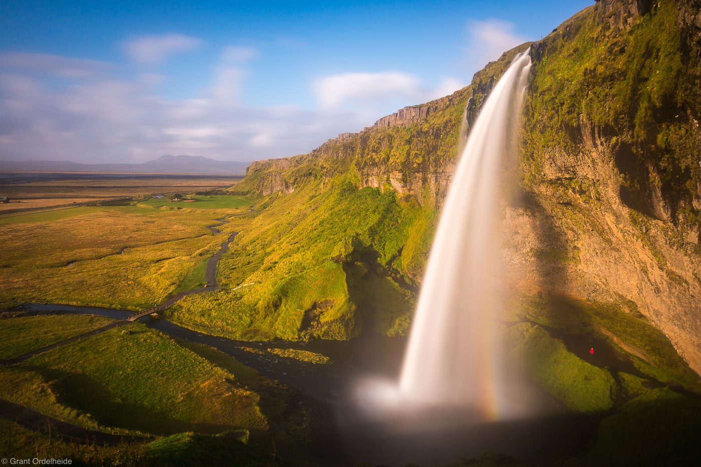 seljandsfoss, Þórsmerkurvegur, Iceland, person, sunset, stands, behind,, photo