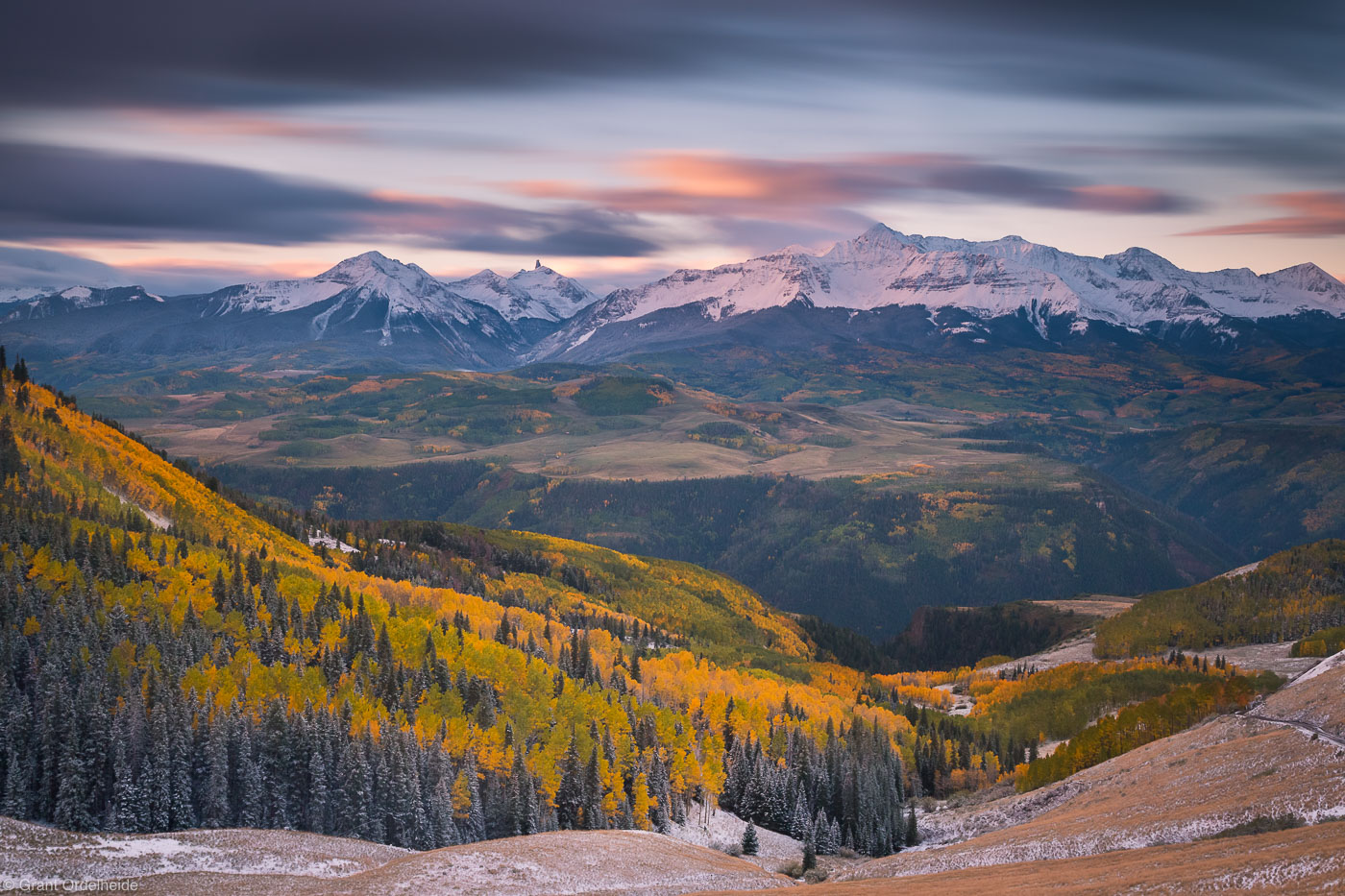wilson, sunrise, telluride, colorado, usa, peak, autumn, last, dollar, road,, photo