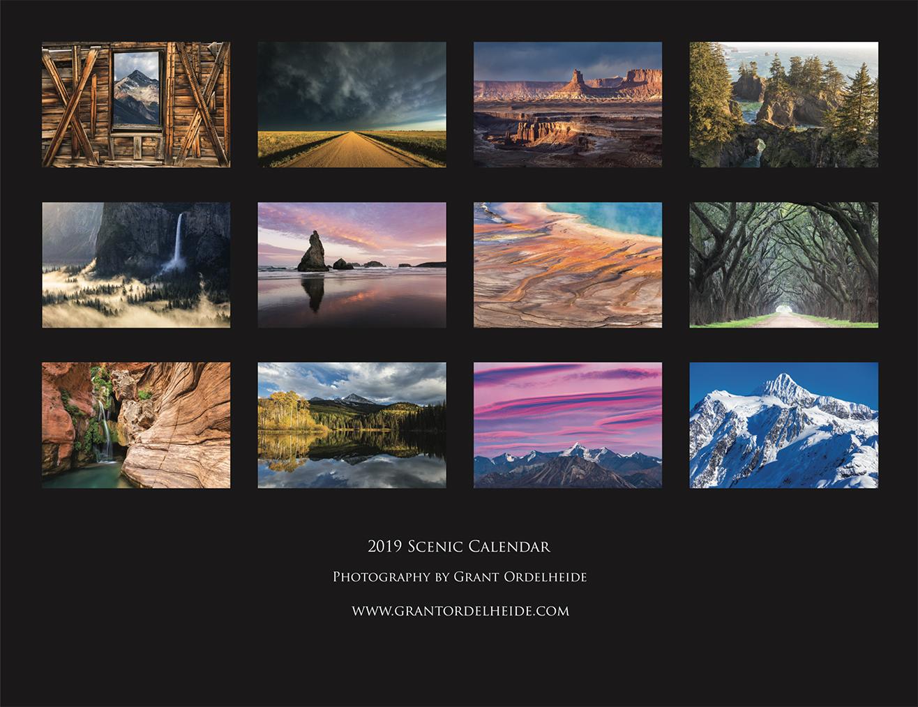2019, scenic, calendar, photo