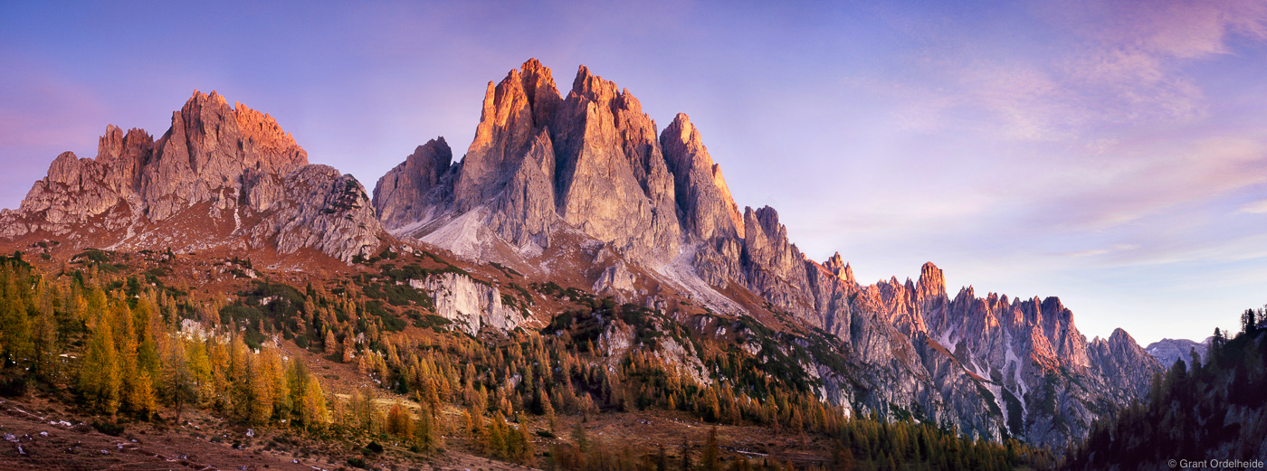 Sunrise on the Cadini Group in Italy's Dolomite mountains.