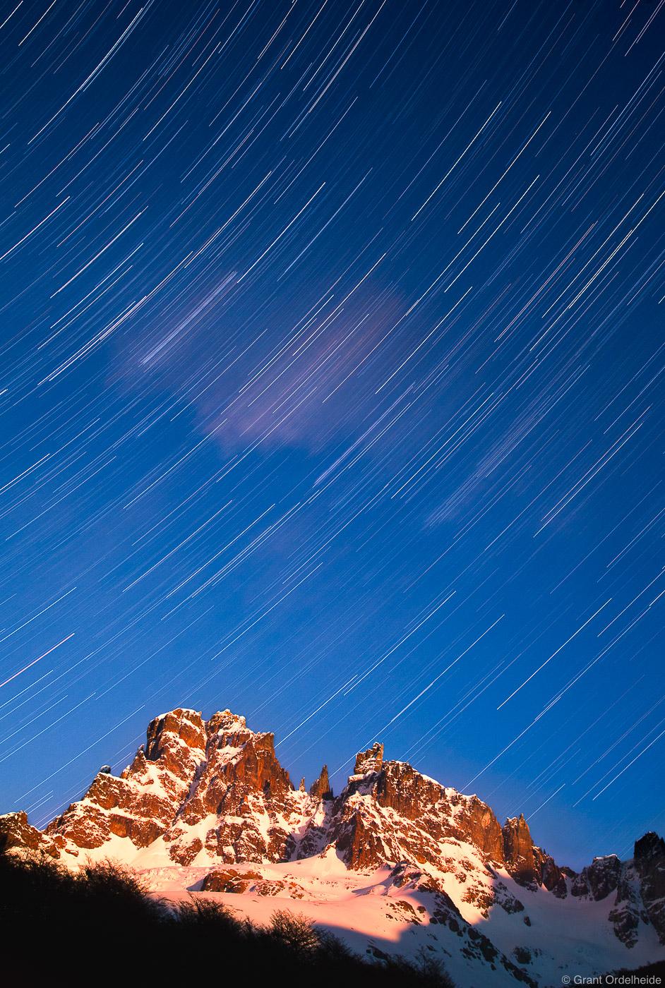Star trails above Cerro Castillo, the tallest peak in the Cerro Castillo National Reserve.