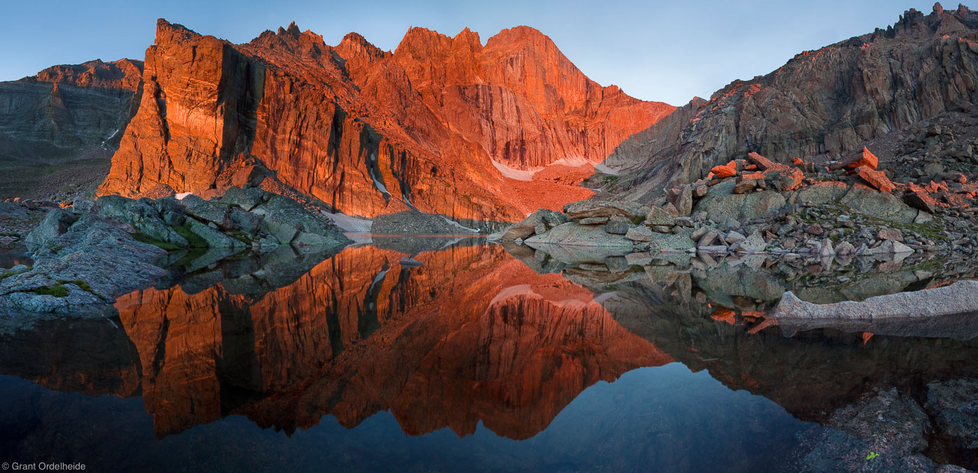 chasm, lake, reflection, rocky, mountain, national, park, usa, colorado, sunrise, longs, peak,, photo