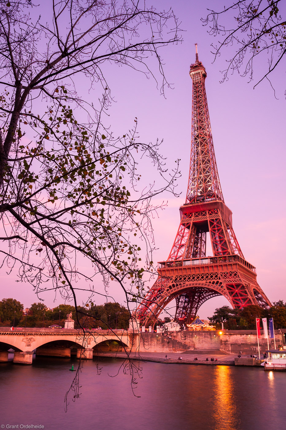 eiffel tower, paris, france, landmark, world, reflected, seine, river, photo