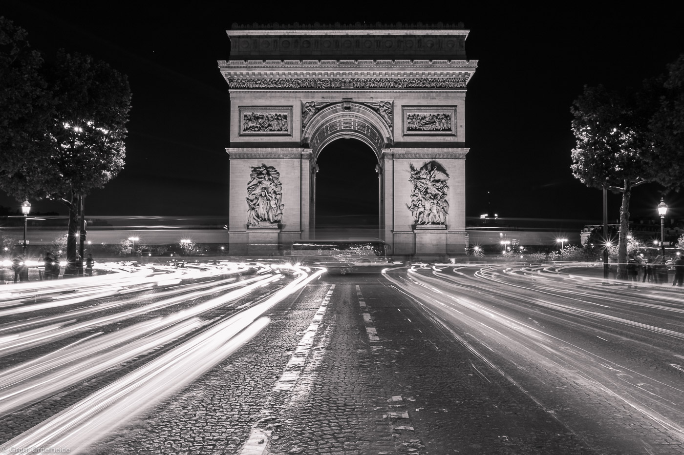 arch de triumph, paris, france, car, lights, famous, arch, photo