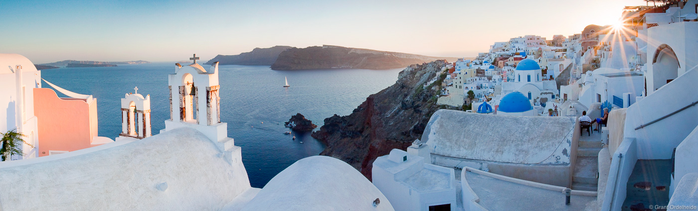 oia, santorini, sunset, greece, greek, island, beautiful, city