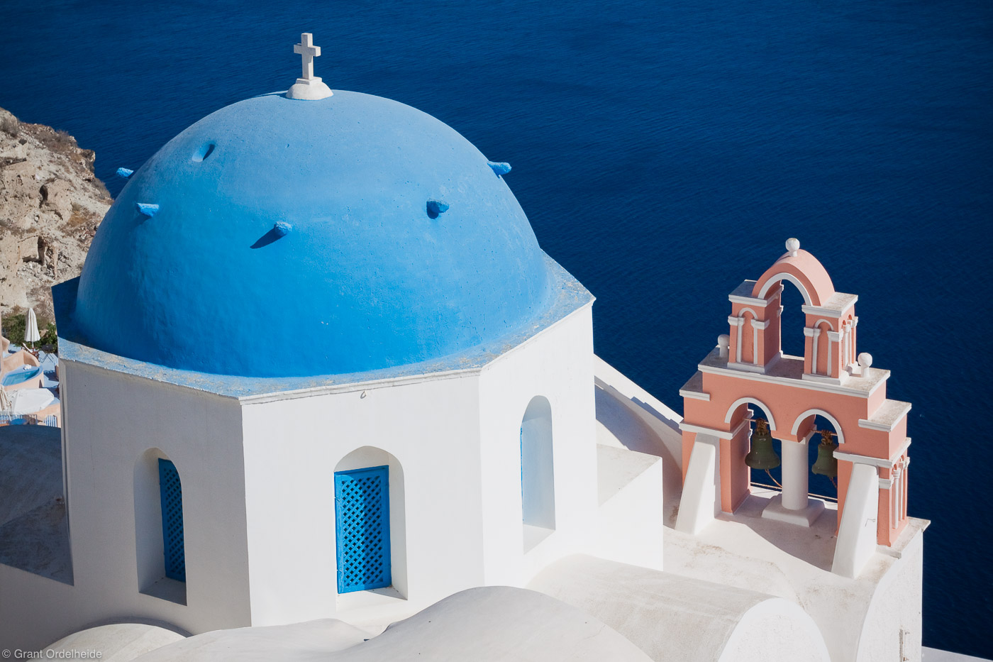 blue, sea, oia, santorini, greece, mediterranean, architecture, deep, overlooks, photo