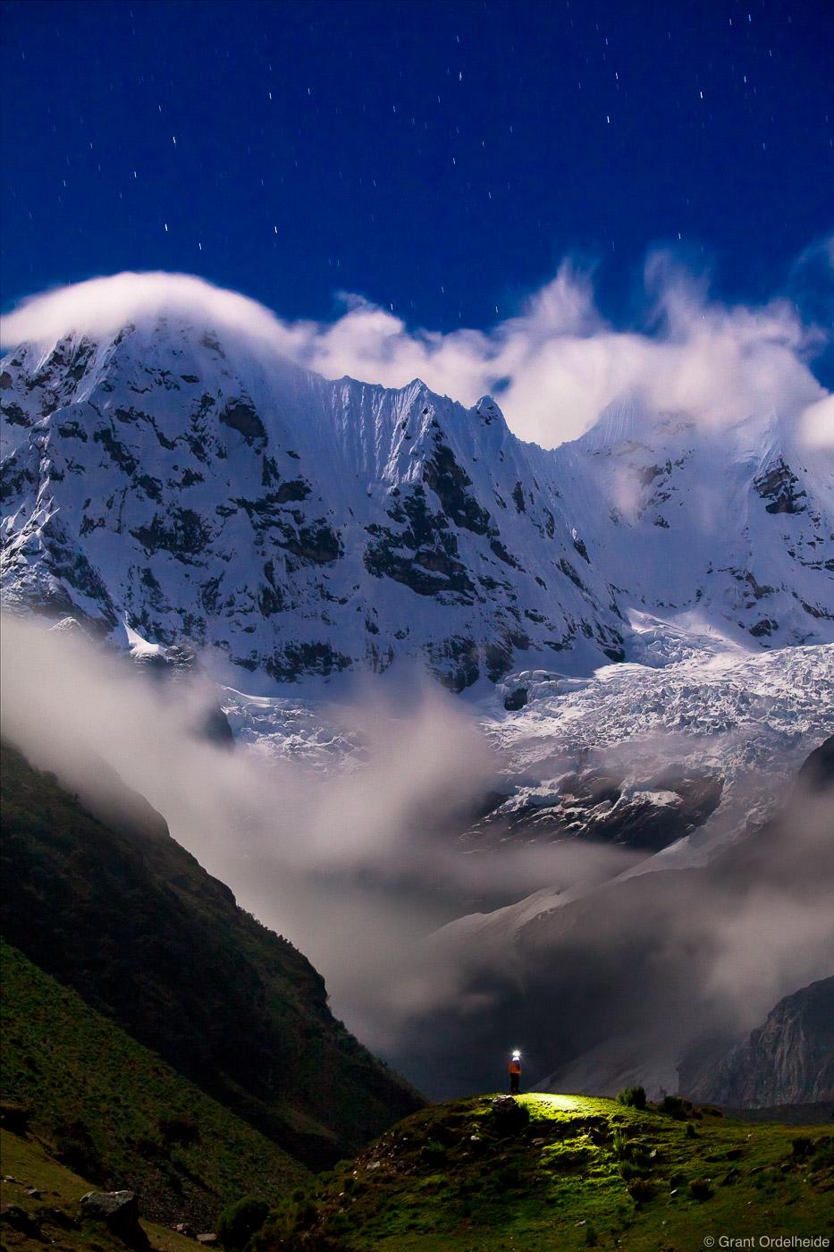 huayhuash, night, cordillera, huaraz, peru, lone, trekker, sky, headlamp, rugged, mountain, range, photo