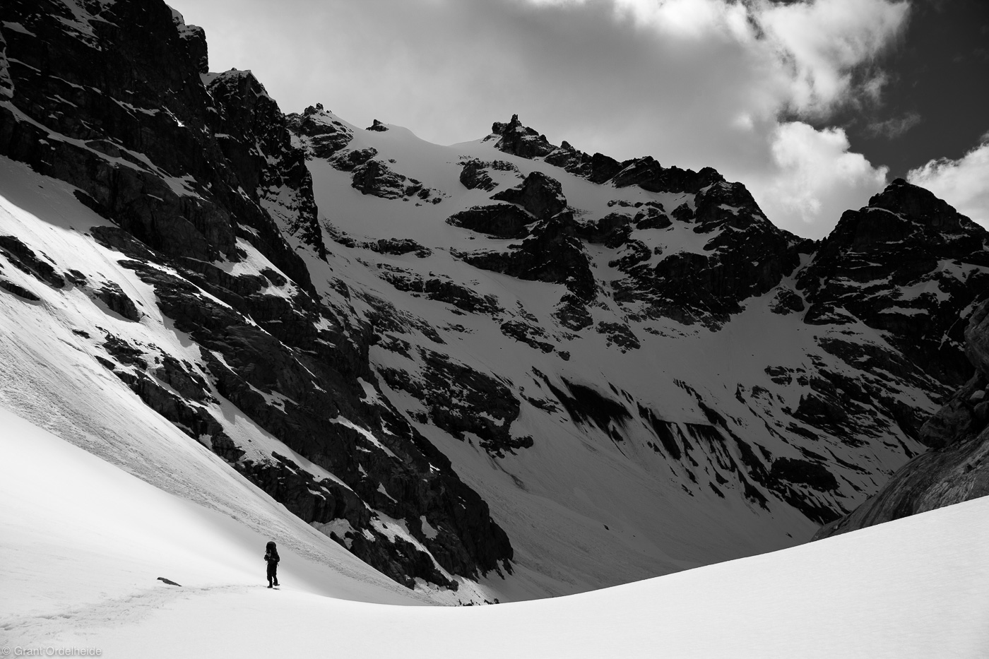 Trekking on thePeñon glacier deep in the Cordillera Castillo.