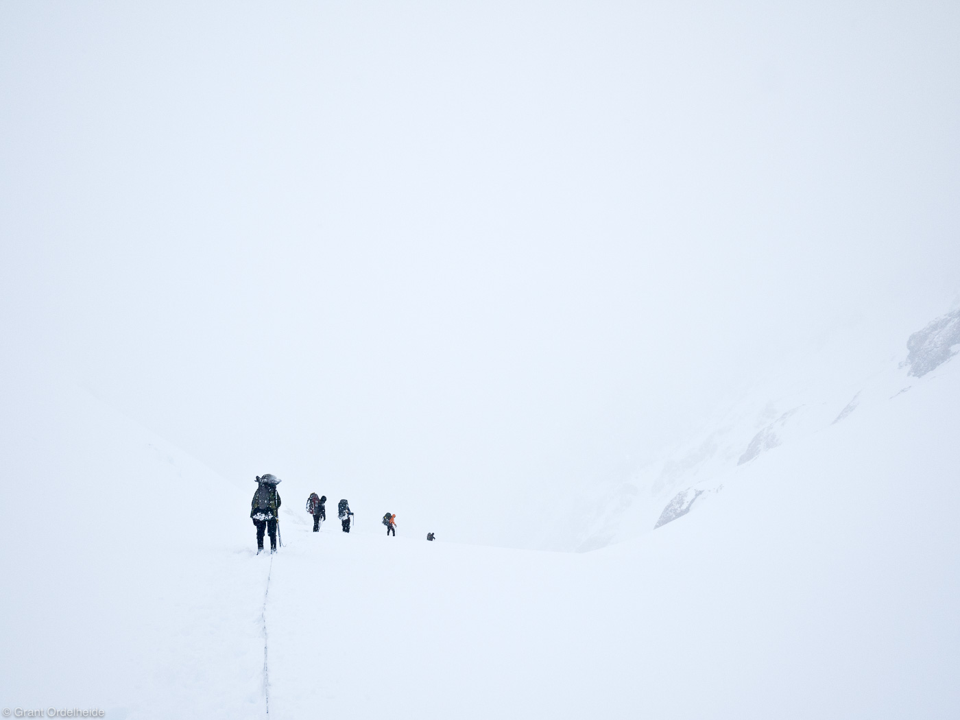 descending, cerro, castillo, national, reserve, chile, rope, team, pass, whiteout, storm, photo