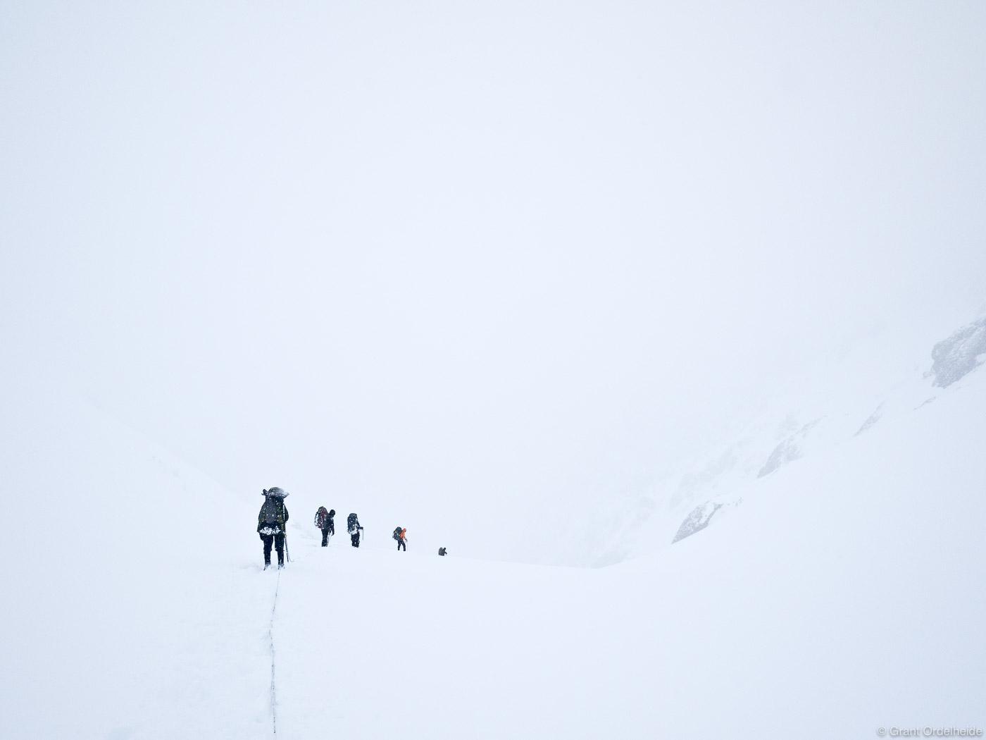descending, cerro, castillo, national, reserve, chile, rope, team, pass, whiteout, storm, photo