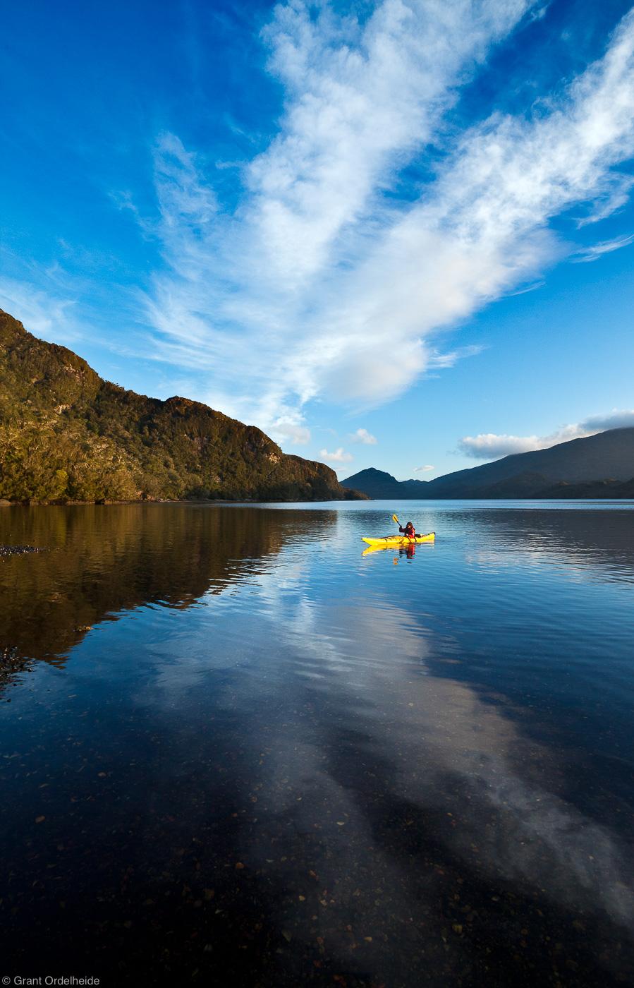 sea, kayaker, isla, kent, waters, chile, photo