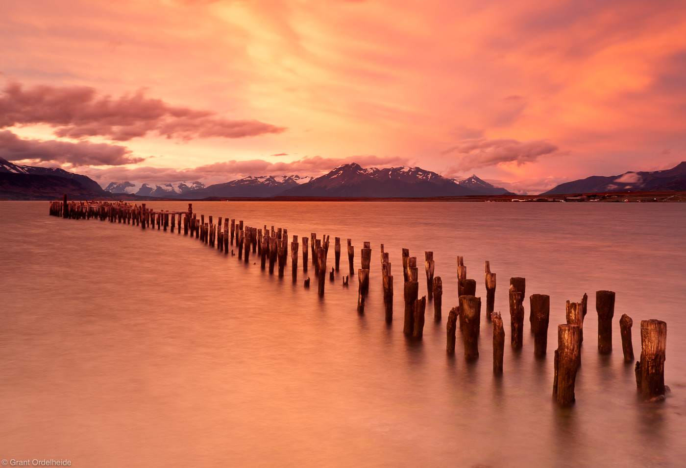 puerto, natales, docks, old, torres, del, paine, vivid, sunset, chile, photo