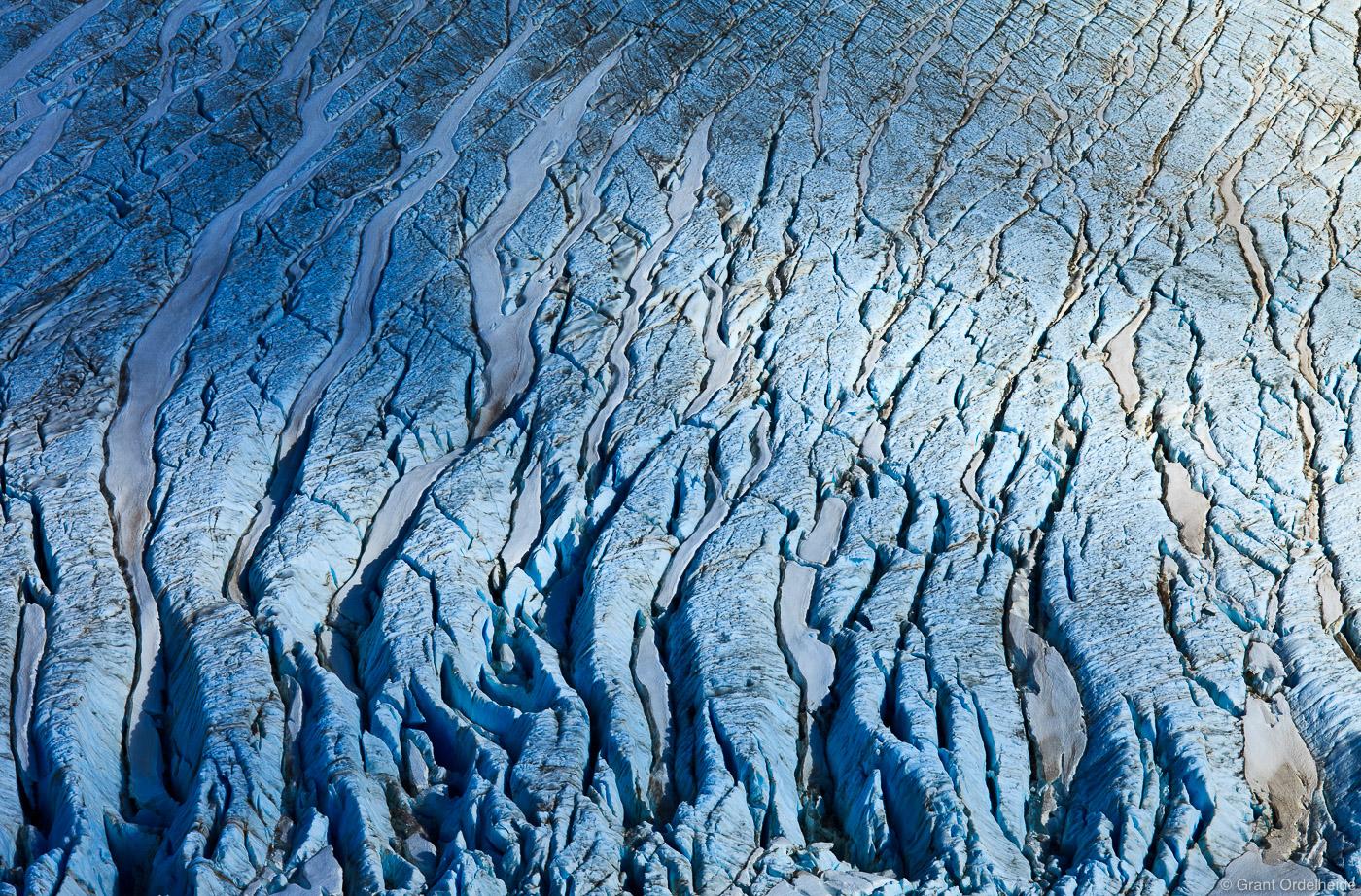 A close up view of the crevasses of the Piedras Blancas Glacier below Mount Fitzroy.