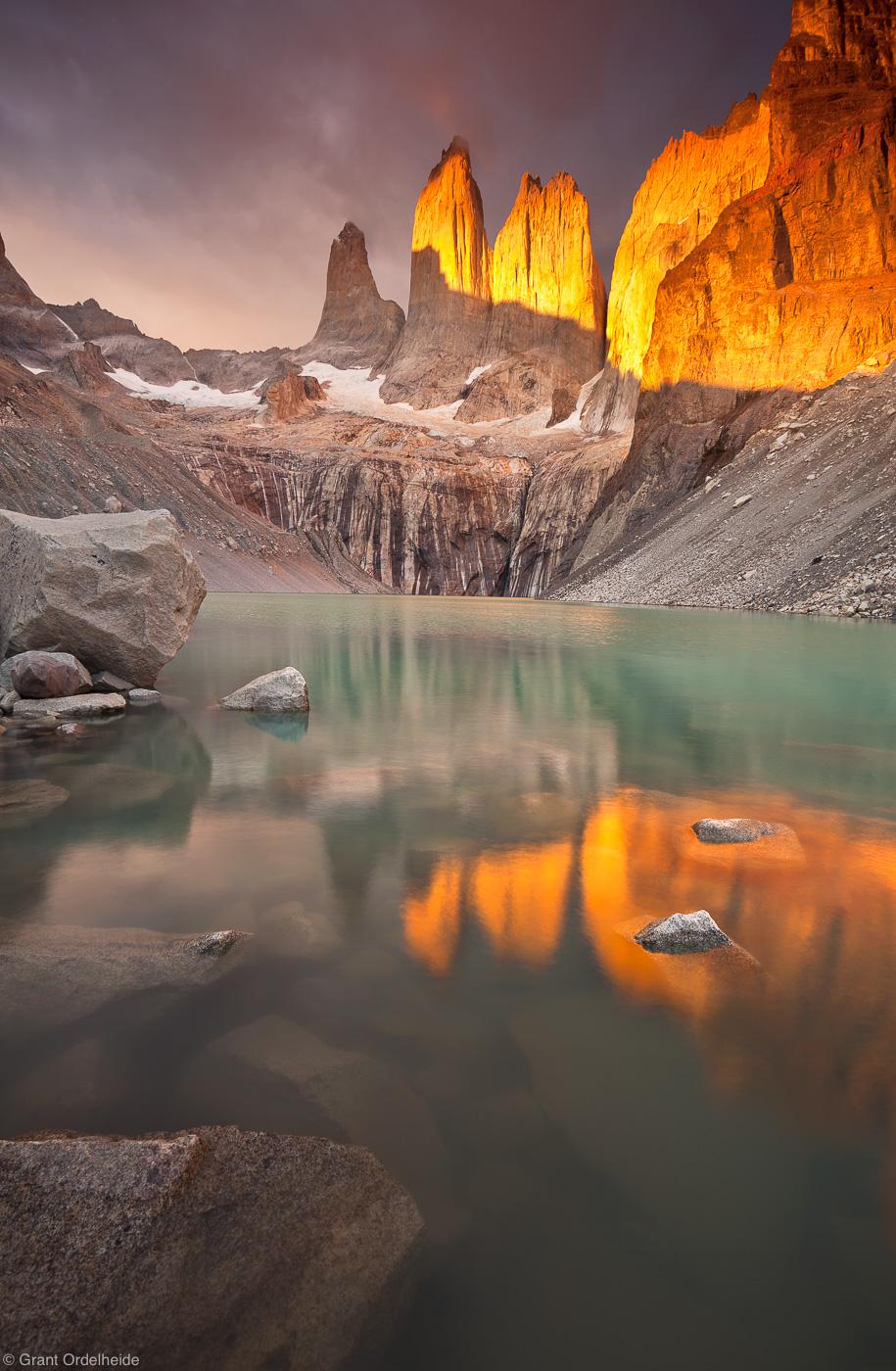los, torres, sunrise, del, paine, national, park, famous, impressive, lucky, light , photo