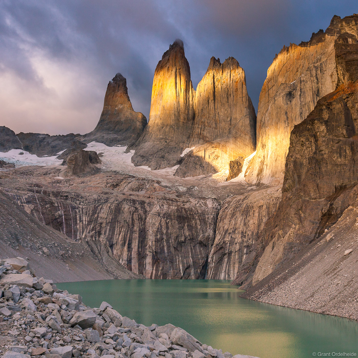 Morning light on the Towers in Chile's Torres del Paine National Park.