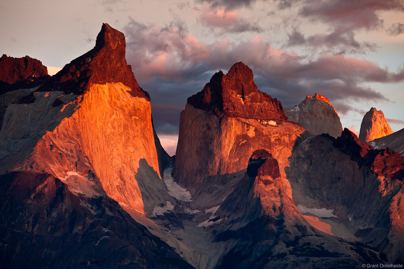 Sunrise on the famous Cuernos of Torres del Paine National Park.