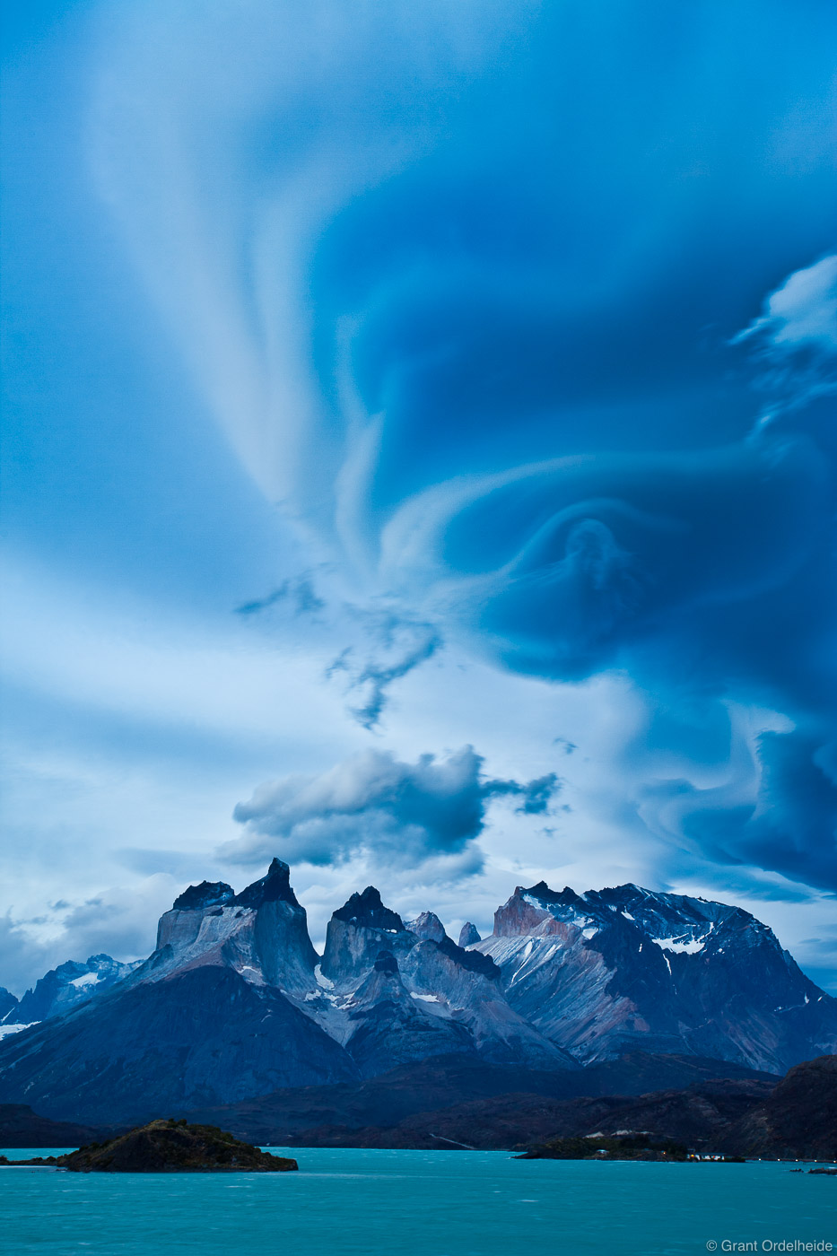 Lenticular clouds over the famous Cuernos of Torres del Paine.