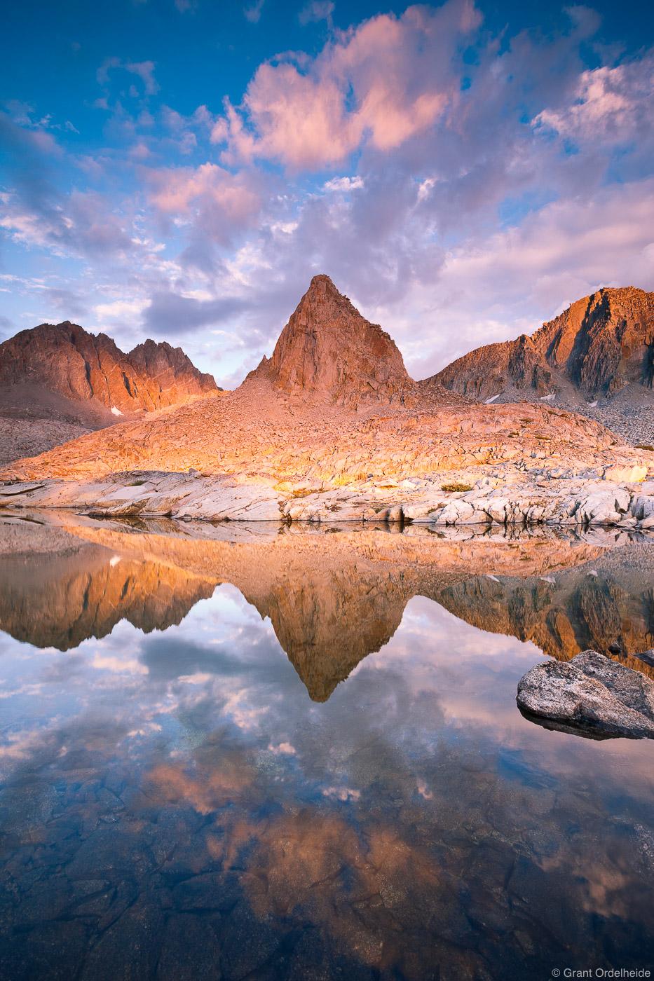 dusy, basin, reflection, isosceles, peak, palisades, alpine, tarn, high, eastern sierra, california, kings canyon, natio, photo