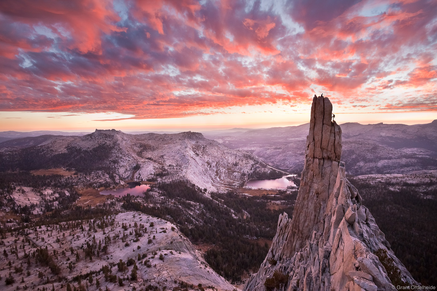 Climbers rappelling off of Eichorn Pinnacle in Yosemite. The pinnacle which lies on the western flank of Cathedral Peak above...