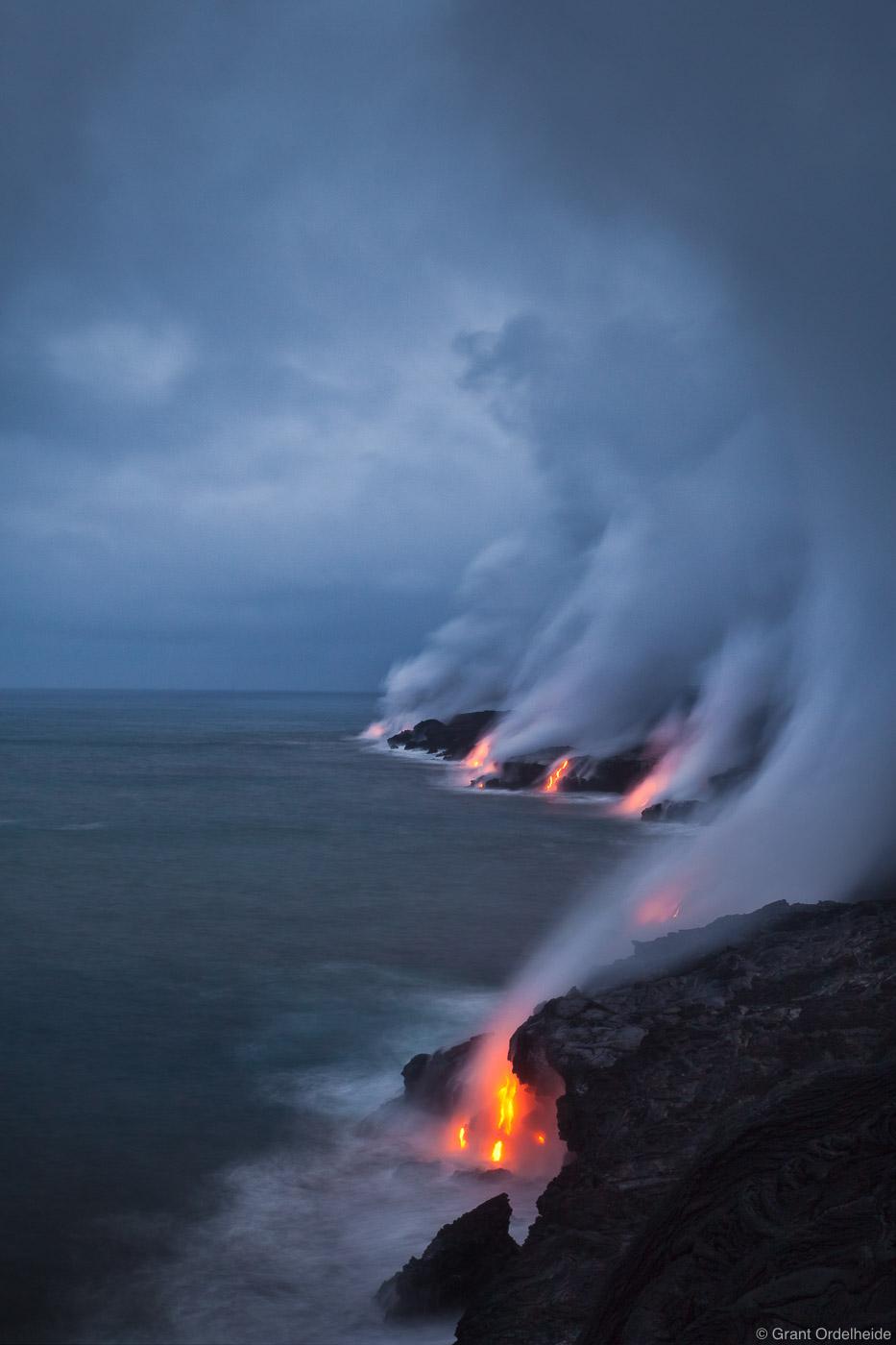 stormy, lava, kalapana, big island, hawaii, flowing, ocean, puu oo, vent , photo