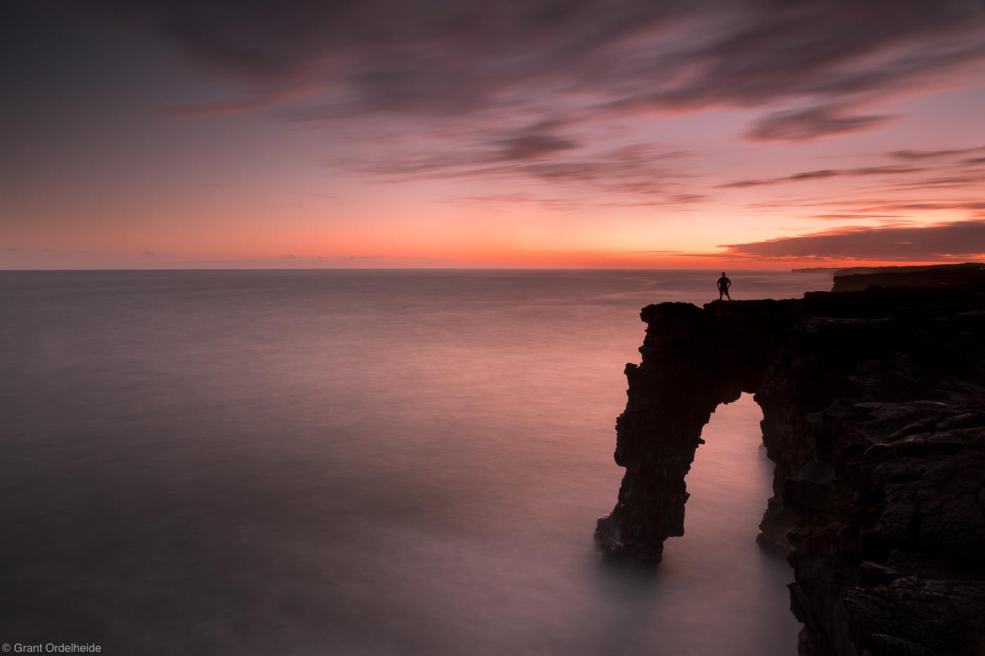 holei, sea, arch, volcanoes, big island, hawaii, person, sunset, national park, , photo