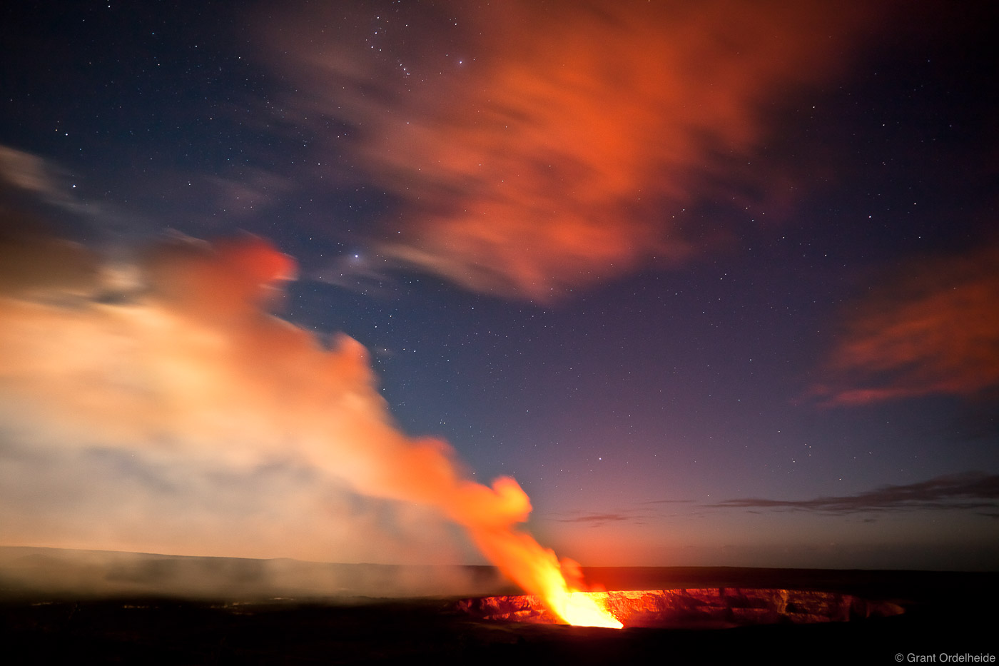 kilauea, crater, volcanoes, national park, glowing, stars, jagger museum, lookout, big island, hawaii, photo