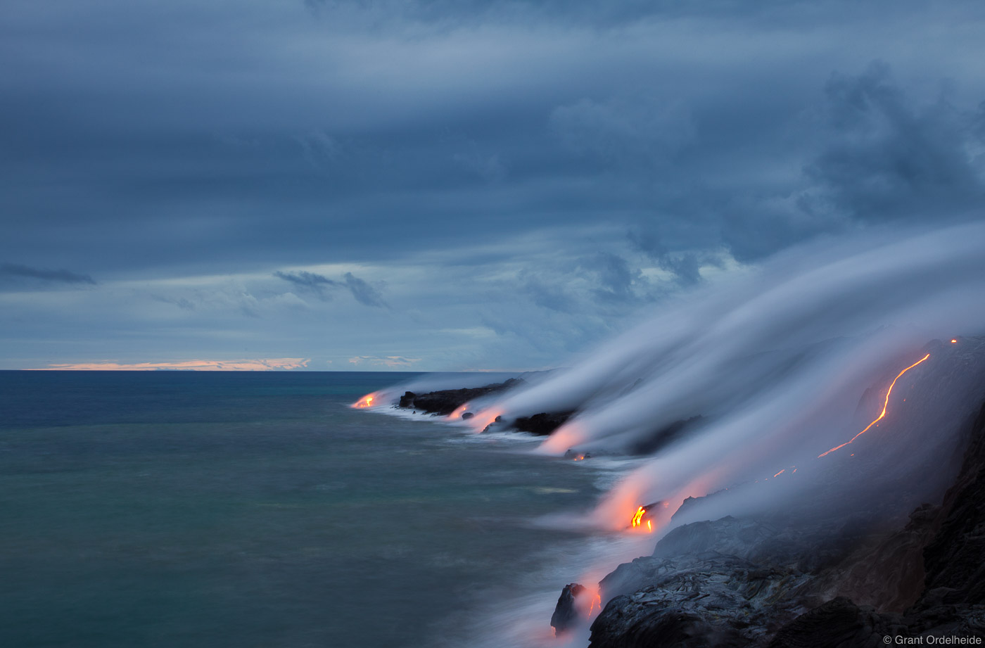 ocean, entry, pacific, puu oo, lava, volcano, kalapana, big island, hawaii, photo